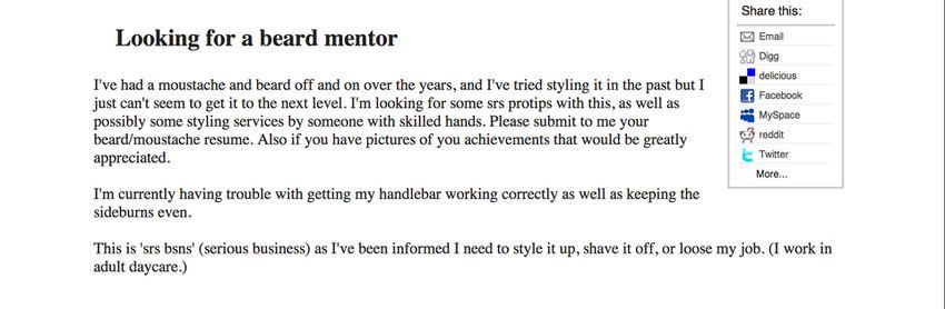 beard mentor job posting